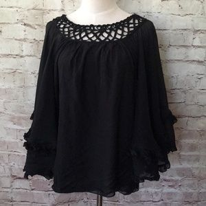 Leifsdottir Silk Batwing Top Lattice Sheer Lined
